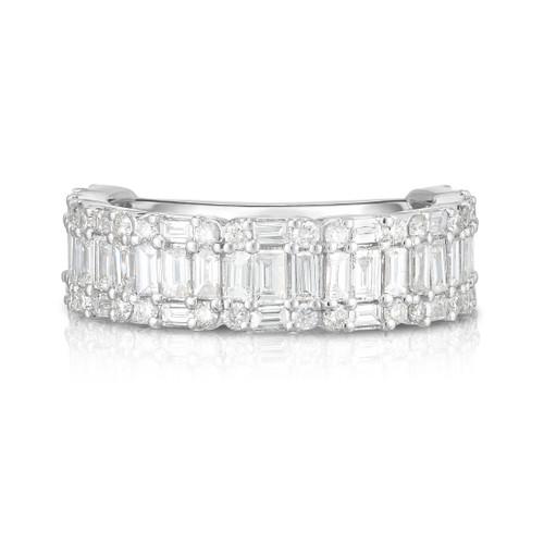 Illusion Emerald Diamond 1/2 Eternity Ring, round and baguette diamonds cluster to create the illusion of single emerald cut diamonds. 14k white gold - Urbaetis Fine Jewelry