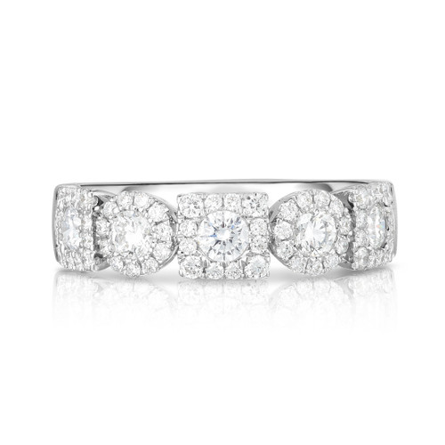 Mixed Square Shape and Round Diamond Cluster 1/2 Eternity Ring, 14k white gold - Urbaetis Fine Jewelry