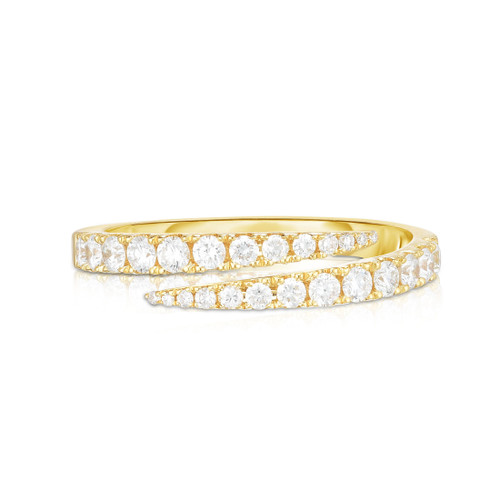 Diamond Bypass Ring, 14k yellow gold - Urbaetis Fine Jewelry