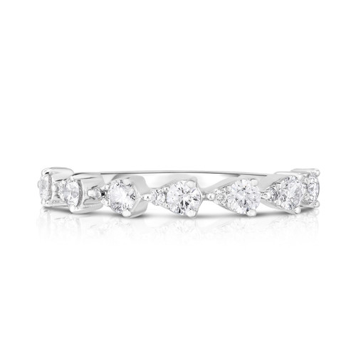 Illusion Pear Diamond 1/2 Eternity Ring, two round diamonds create the illusion of 7 pear diamonds, 14k white gold - Urbaetis Fine Jewelry