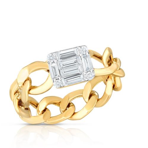 TriBeCa Emerald Diamond Illusion Curb Chain Ring, baguette and round diamonds form the illusion of one single emerald diamond, 14k yellow gold - Urbaetis Fine Jewelry