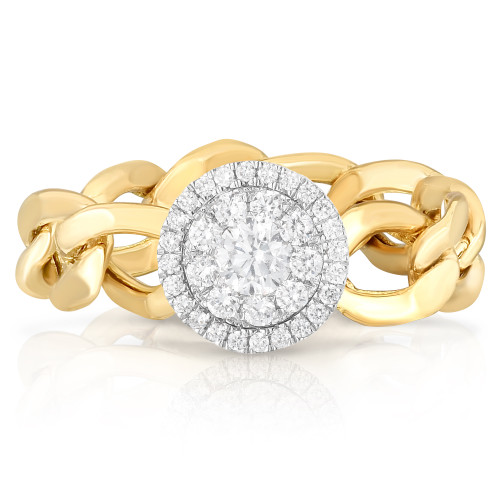 TriBeCa Round Diamond Illusion Curb Chain Ring, round diamond cluster, 14k yellow gold - Urbaetis Fine Jewelry