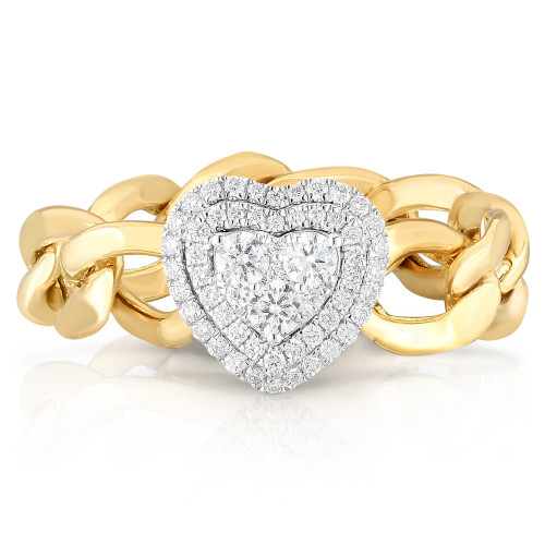 TriBeCa Illusion Heart Diamond Curb Chain Ring, 14k yellow gold - Urbaetis Fine Jewelry