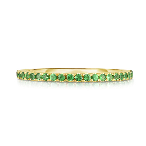 Green Garnet 1/2 Eternity Ring, 14k yellow gold  - Urbaetis Fine Jewelry