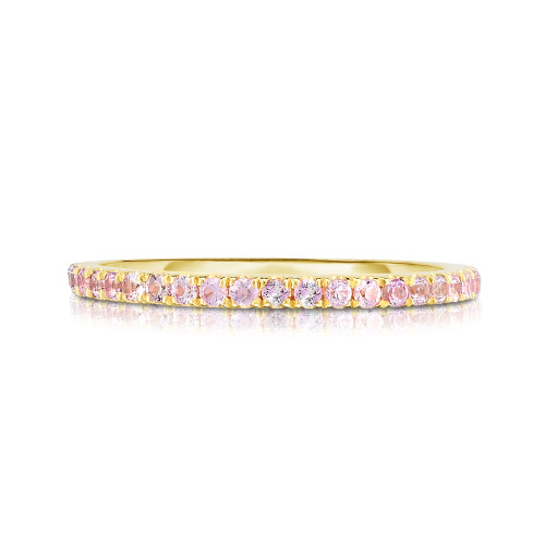 Pastel Pink Sapphire 1/2 Eternity Ring, 14k yellow gold - Urbaetis Fine Jewelry