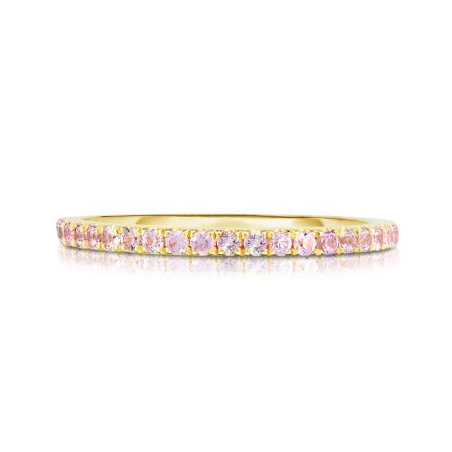 Pastel Pink Sapphire 1/2 Eternity Ring, 14k yellow gold - Urbaetis Fine Jewelry