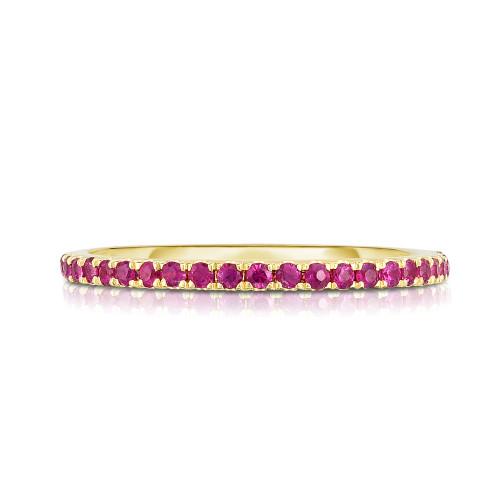 Hot Pink Sapphire 1/2 Eternity Ring, 14k yellow gold - Urbaetis Fine Jewelry