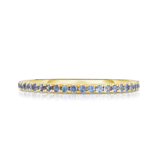 Pastel Blue Sapphire 1/2 Eternity Ring, 14k yellow gold - Urbaetis Fine Jewelry