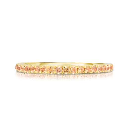 Pastel Orange Yellow Sapphire 1/2 Eternity Ring, 14k yellow gold - Urbaetis Fine Jewelry