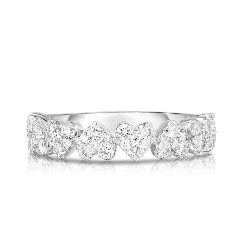 Heart Diamond Cluster 1/2 Eternity Ring, 14k white gold - Urbaetis Fine Jewelry