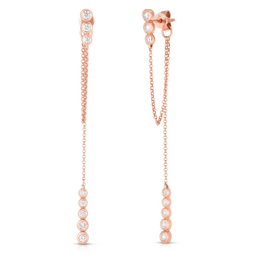 Dainty Diamond and Chain Drop Earrings, 14k rose gold, 0.4 carats - Urbaetis Fine Jewelry