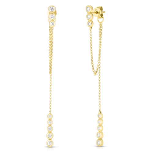 Dainty Diamond and Chain Drop Earrings, 14k yellow gold, 0.4 carats - Urbaetis Fine Jewelry