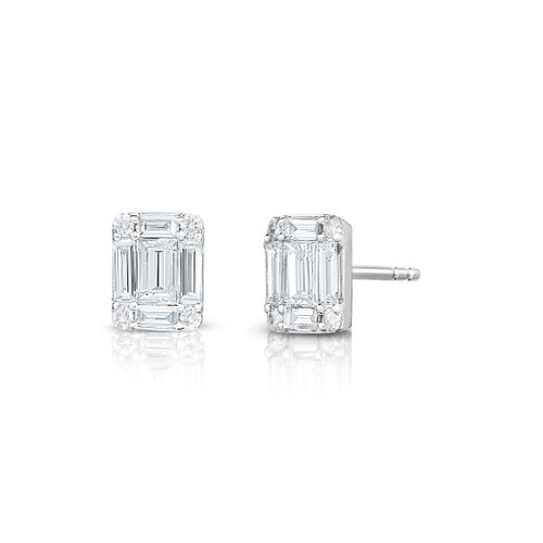 Emerald Diamond Cluster Stud Earrings, 14k white gold - Urbaetis Fine Jewelry
