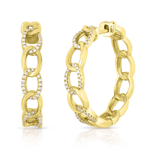 Gold and Diamond Chain Link Hoops , 14k yellow gold - Urbaetis Fine Jewelry