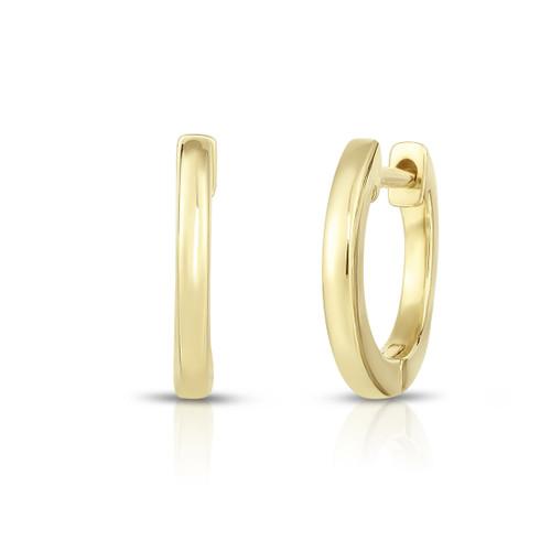 Solid Gold Huggie Hoop Earrings, 14k yellow gold - Urbaetis Fine Jewelry