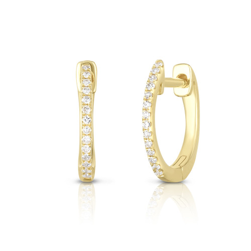 Dainty Diamond Huggie Hoops, 14k yellow gold, 0.08 carats - Urbaetis Fine Jewelry