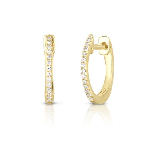 Dainty Diamond Huggie Hoops, 14k yellow gold, 0.08 carats - Urbaetis Fine Jewelry