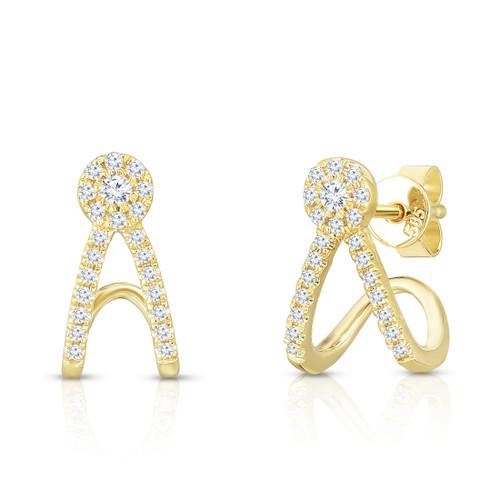 Diamond Split Huggie Stud Earrings,  14k yellow gold, 0.24 carats - Urbaetis Fine Jewelry