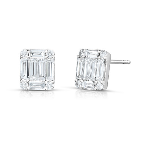 XL illusion Emerald Diamond Cluster Stud Earrings, 14k white gold - Urbaetis Fine Jewelry