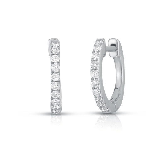 Diamond Huggie Earrings, 14k white gold - Urbaetis Fine Jewelry