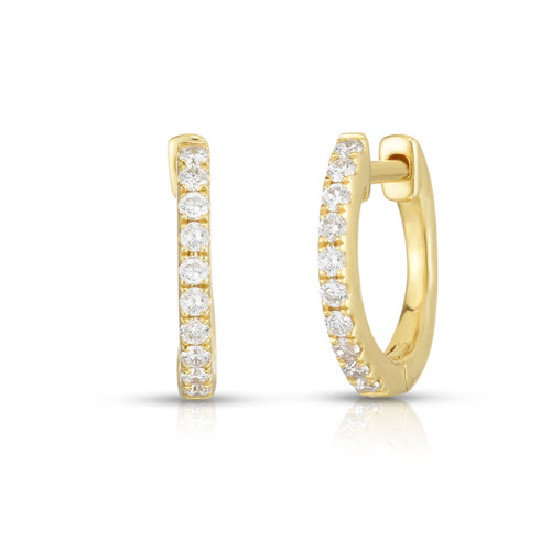 Diamond Huggie Earrings, 14k yellow gold - Urbaetis Fine Jewelry
