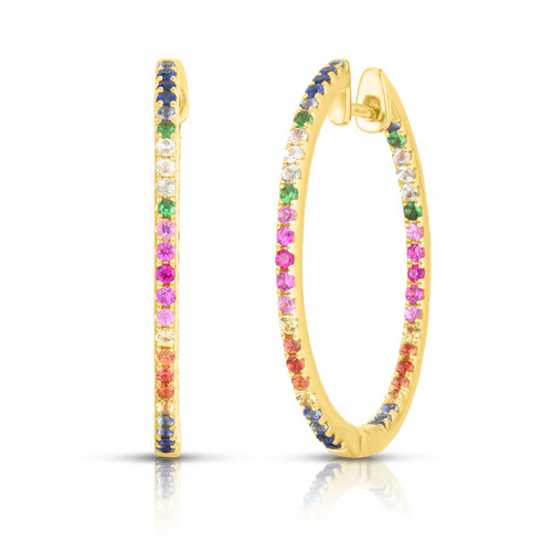Rainbow Gemstone Hoops, 14k yellow gold - Urbaetis Fine Jewelry