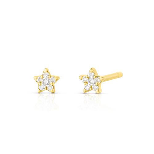 Dainty Diamond Star Stud Earrings, 14k yellow gold - Urbaetis Fine Jewelry