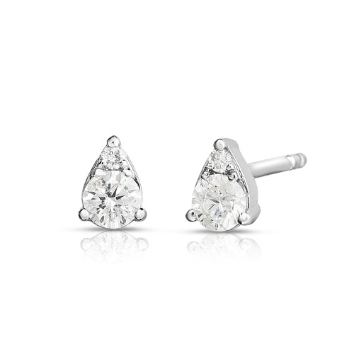 Illusion Pear Diamond Cluster Stud Earrings, 0.22 carats, 14k white gold - Urbaetis Fine Jewelry