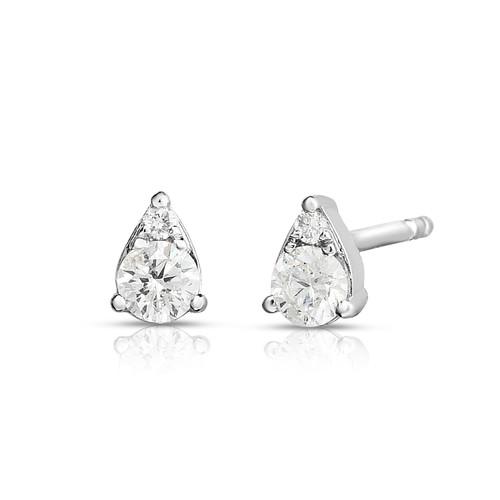 Illusion Pear Diamond Cluster Stud Earrings, 0.22 carats, 14k white gold - Urbaetis Fine Jewelry
