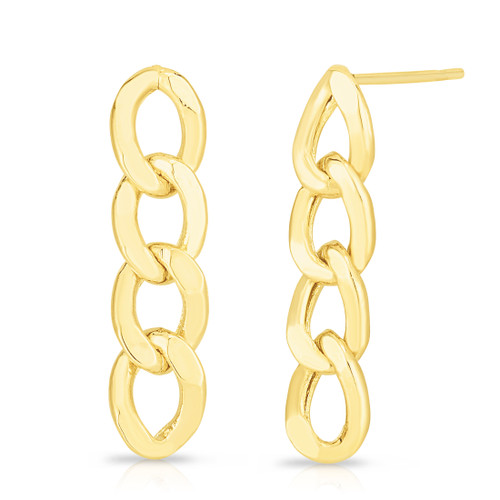 TriBeCa Curb Chain 4 Link Earrings, 14k yellow gold - Urbaetis Fine Jewelry
