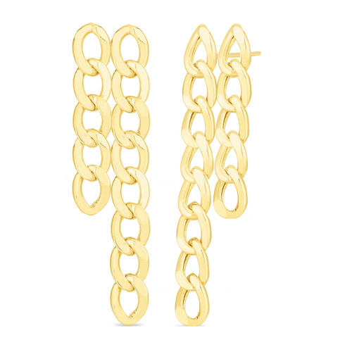TriBeCa Curb Chain Double Link Earrings, 14k yellwo gold - Urbaetis Fine Jewelry