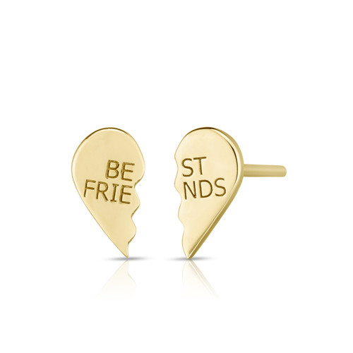Best Friends BFF Stud Earrings, 14k yellow gold - Urbaetis Fine Jewelry