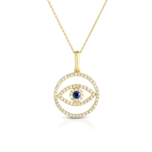 Evil Eye Medallion Necklace, 14 k yellow gold with diamonds and sapphire - Urbaetis Fine Jewelry