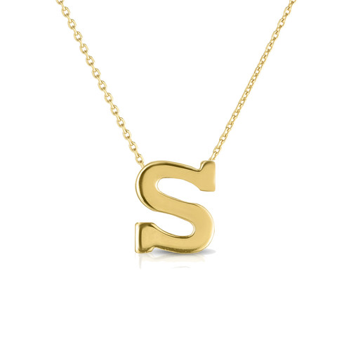 Block Letter Initial Necklace, 14k yellow gold - Urbaetis Fine Jewelry