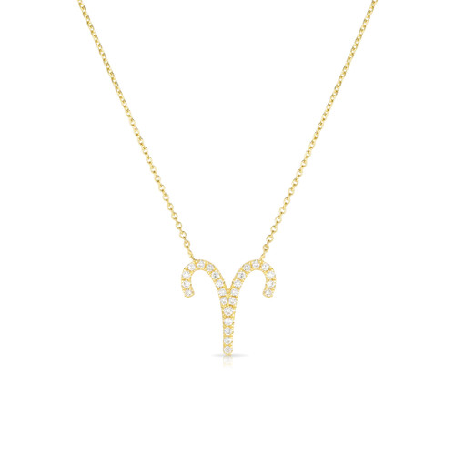 Diamond Aries Zodiac Necklace, 14k yellow gold - Urbaetis Fine Jewelry