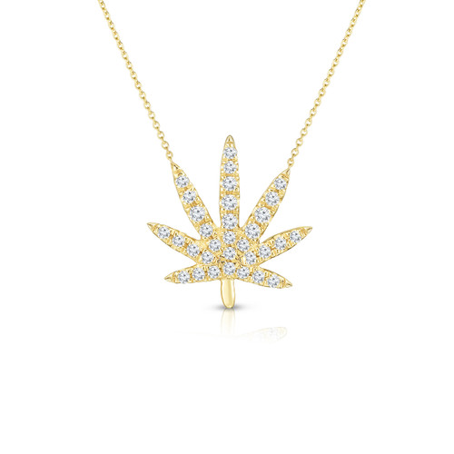 Diamond Calm Tree Necklace, 14k yellow gold - Urbaetis Fine Jewelry