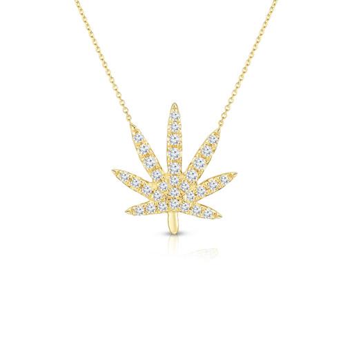 Diamond Calm Tree Necklace, 14k yellow gold - Urbaetis Fine Jewelry