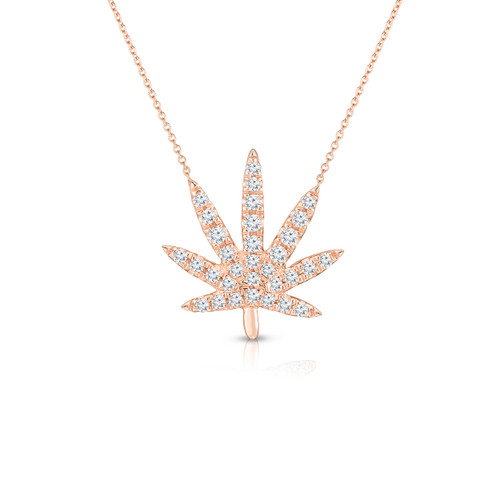 Diamond Calm Tree Necklace, 14k rose gold - Urbaetis Fine Jewelry