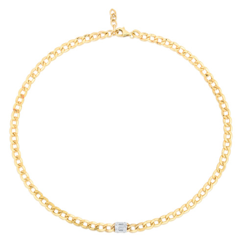 TriBeCa Emerald Diamond Cluster Curb Chain Necklace, 14k yellow gold - Urbaetis Fine Jewelry