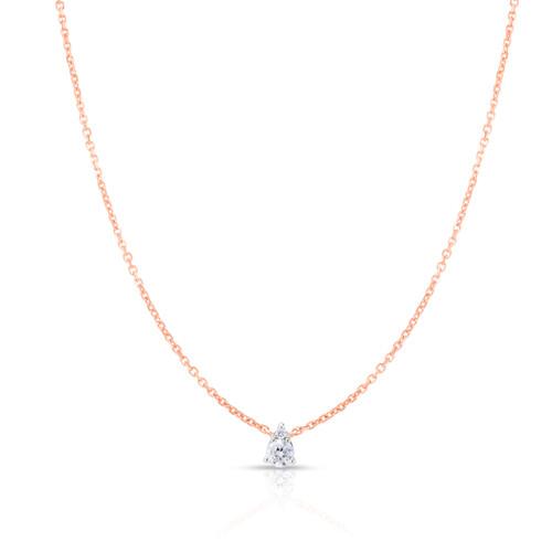 Pear Diamond Cluster Necklace, 14k rose gold, 0.11 carats - Urbaetis Fine Jewelry