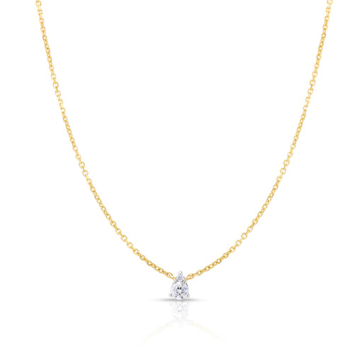 Pear Diamond Cluster Necklace, 14k yellow gold, 0.11 carats - Urbaetis Fine Jewelry
