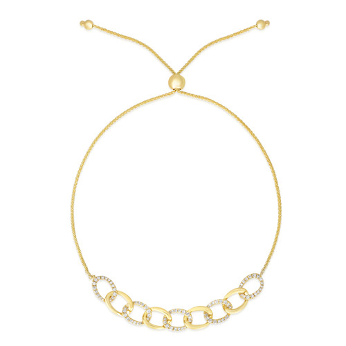 Gold and Diamond Chain Link Bolo Bracelet, 14k yellow gold - Urbaetis Fine Jewelry