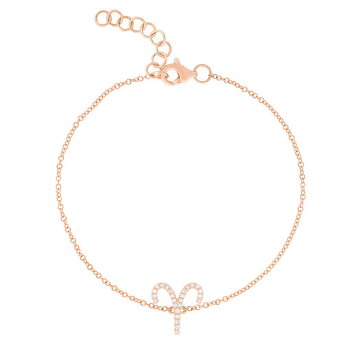 Diamond Aries Zodiac Bracelet, 14k rose gold - Urbaetis Fine Jewelry