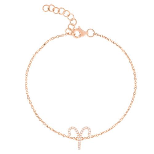 Diamond Aries Zodiac Bracelet, 14k rose gold - Urbaetis Fine Jewelry