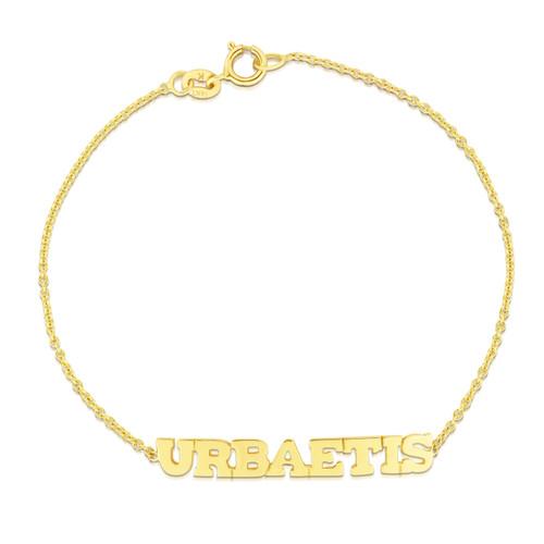 Block Letter Mantra Bracelet, 14k yellow gold - Urbaetis Fine Jewelry