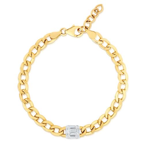 TriBeCa Illusion Emerald Diamond Cluster Bracelet, 14k yellow gold - Urbaetis Fine Jewelry