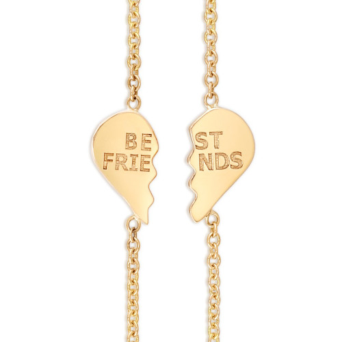 Best Friends BFF Heart Bracelet Set, 14k yellow gold - Urbaetis Fine Jewelry