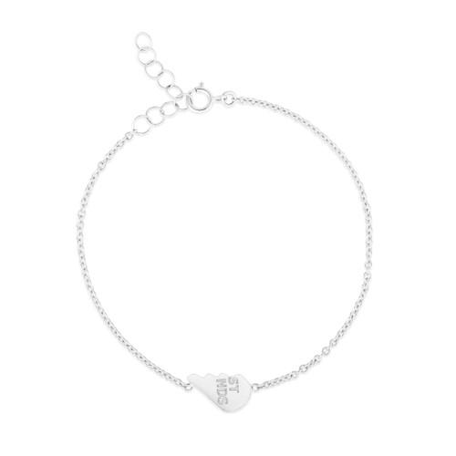 Best Friends BFF Heart Bracelet Set, 14k white gold - Urbaetis Fine Jewelry