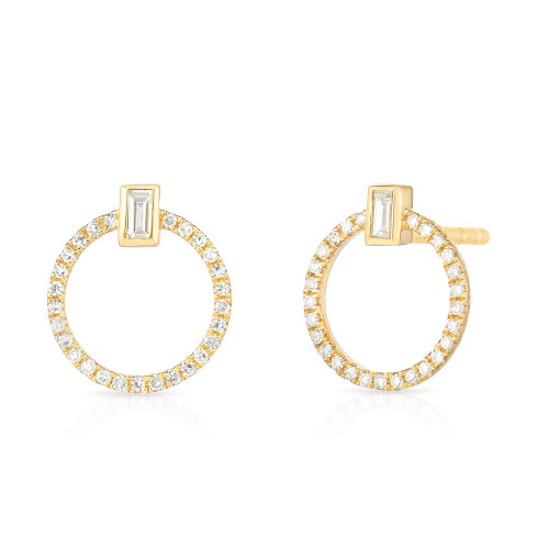 Baguette Diamond and Circle Stud, 14k yellow gold - Urbaetis Fine Jewelry