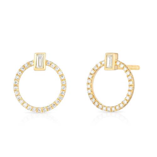 Baguette Diamond and Circle Stud, 14k yellow gold - Urbaetis Fine Jewelry
